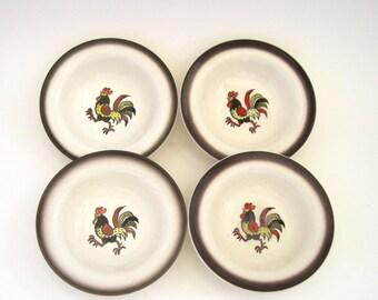 Metlox Red Rooster Fruit Bowls x 4