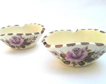 White ceramic, Vintage ceramic ashtray, Ceramic ash tray, Vintage ceramic ash tray, Vintage ceramic, Rose Ceramic ashtray, home decor