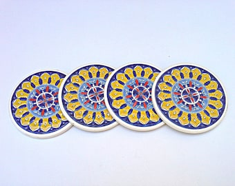 Yellow Coasters, Set of Four Vintage coasters, Floral, Ceramic Art, Handmade Pottery Coasters, Mediterranean