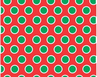 Red with white and green polka dots craft  vinyl sheet - HTV or Adhesive Vinyl -  large polka dot pattern HTV722