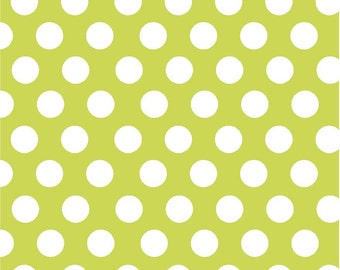Lime with white dots craft  vinyl sheet - HTV or Adhesive Vinyl -  large white polka dot pattern HTV744