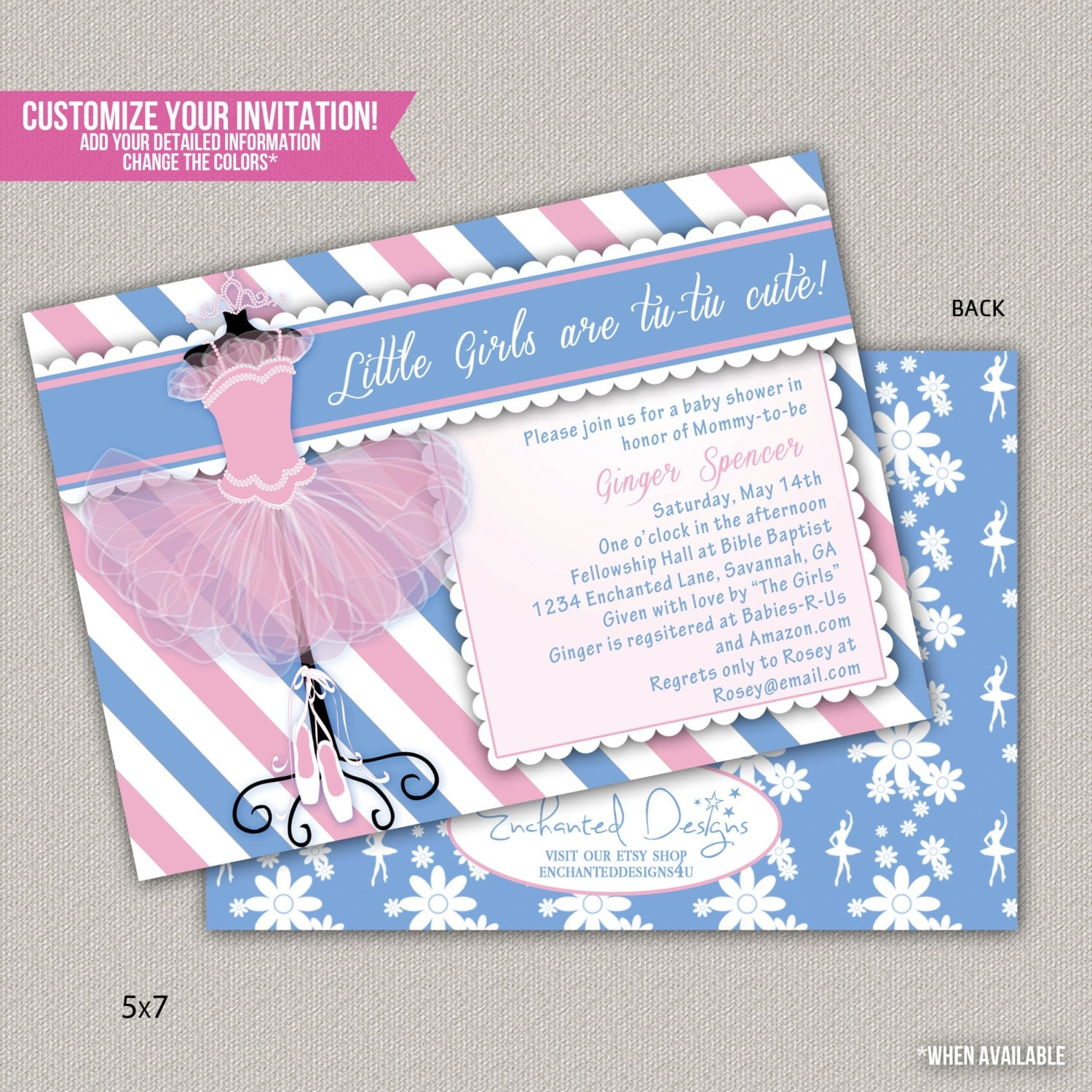 tutu cute baby shower invitation custom by enchanteddesigns4u