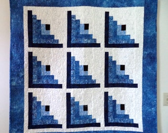 Quilt, Wall Hanging or Medium Sized Lap Quilt, Blue and White Log Cabin