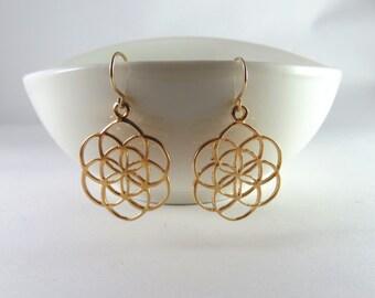 seed of life earrings, gold flower of life earrings, gold earrings, sacred geometry, Judaica, Mandala earrings, Kabbalah Jewelry