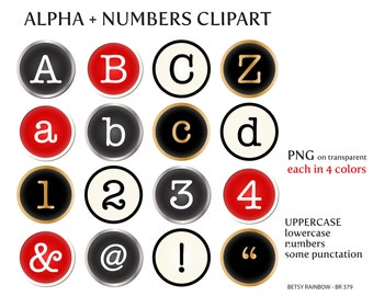 Typewriter letters and numbers clipart PNG, digital alphabet clip art, number clipart, Instant download, BR 379