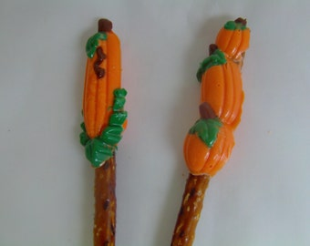 Pumpkin Pretzel Pops (Set of 6) Variety of Mouth Watering Flavors To Choose From!