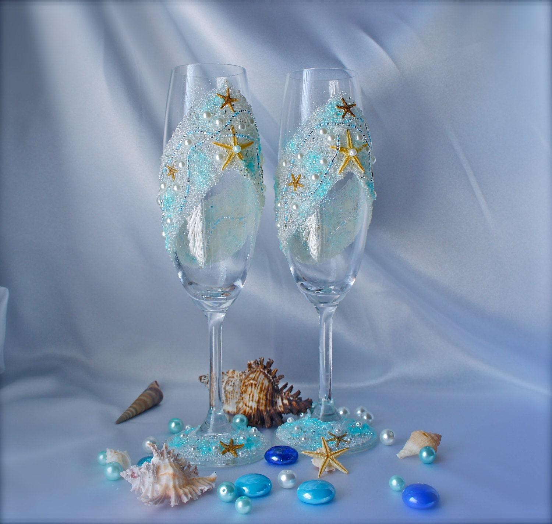 Beach Champagne: Beach Wedding Toasting Flutes Starfish Wedding Glasses