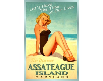 Assateague Island Maryland -Original Beach Travel Poster -available in 4 sizes- Time of Our Lives New Bathing Beauty Ocean Art Print 170