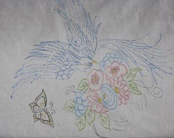 Vintage embroidery painted tablecloth white blue bird