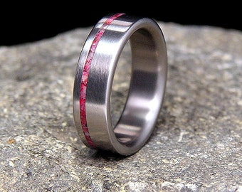 Asian Coral Offset Inlay Satin Finish Titanium Wedding Band or Ring