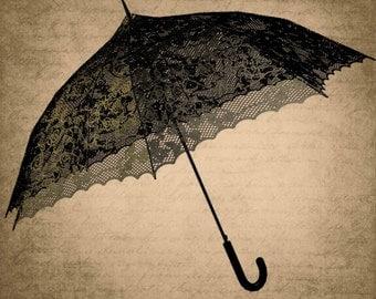 Vintage  umbrella Digital Collage Sheet Download Fabric Illustration Picture Art