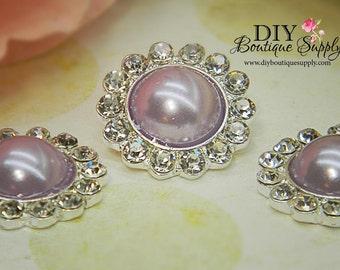 5 pcs 21mm Metal Rhinestone Pearl Embellishment Lavender Pearls Flatback Headband Supplies Crystal flower centers Bridal supplies 308045