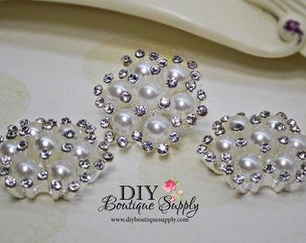 Rhinestone Pearl Button Embellishment Pearl Rhinestone Flatback Bridal Wedding accessories Headband Supplies Flower Centers 26mm 649070