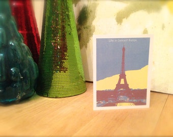 Funny graduation card, relax, Eiffel Tower, Paris France, French Architecture, graphic illustration, Le Tour Eiffel, Calm, French print