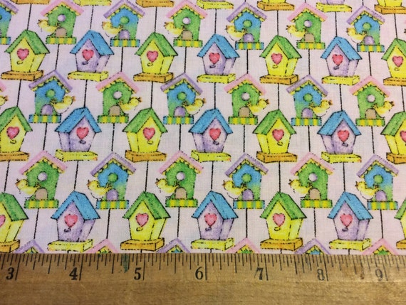 Garden baby bird houses fabric by fabri quilt cotton for Children s clothing fabric by the yard
