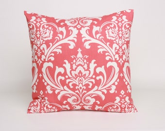 Coral Damask Pillow Cover, Coral Cushion Cover, 20 x 20 inch Pillow Cover in Coral, Damask Pillow Sham, Coral Pillow Sham