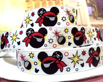 5 YDS Pirate Mickey Mouse Ribbon