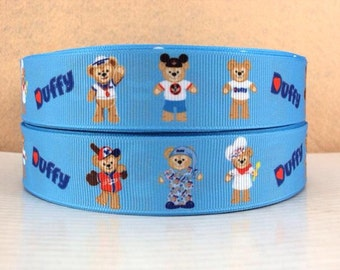 5 YDS Blue Duffy Bear Ribbon