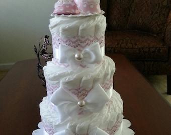 Three Tier Elegant Pink And White Diaper Cake / Baby Girl Diaper Cake