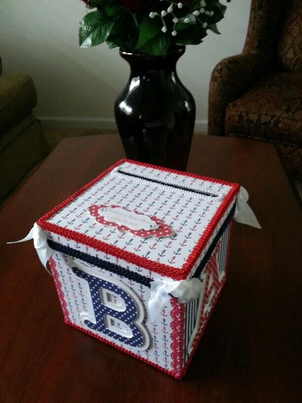 Gift Box Baby Shower Invitations : Nautical gift card box baby shower money