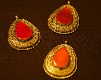 Carnelian and Coral Afgan Teardrop Pendants