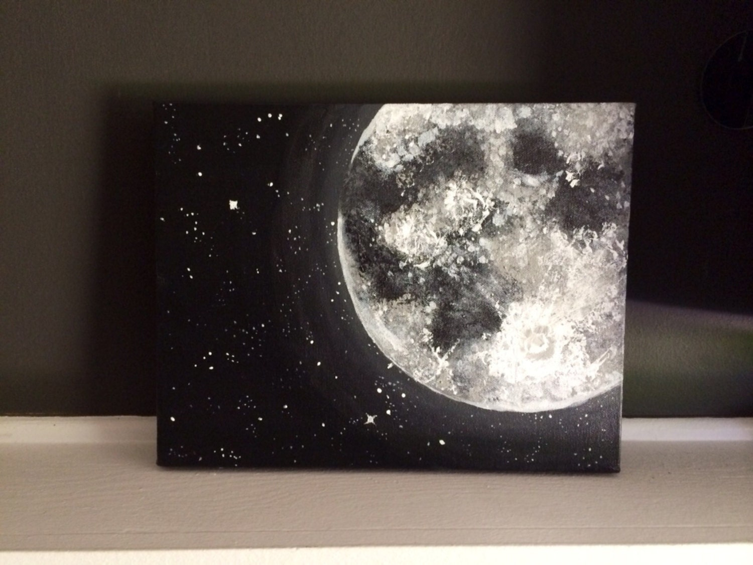 moon and stars acrylic painting 11x14 inches home accents