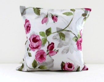 Rose print pillow cover, flower cushion cover in pink rose print fabric, cottage style cushions, pink throw pillow, handmade in the UK