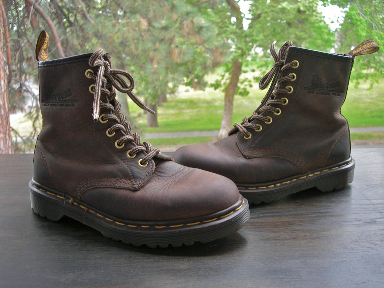 doc martens brown leather hiking boots made in by londonbay