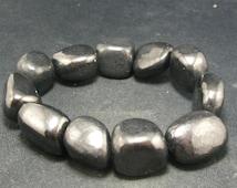 "Shungite Bracelet From Russia Large Tumbled Beads - 7"""