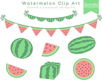 50% OFF Watermelon Clip Art Set - Personal & Commercial Use