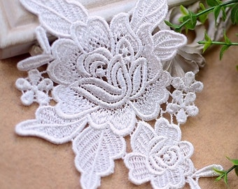 2 Venice Flower Lace Applique, Ivory Bridal Lace Applique