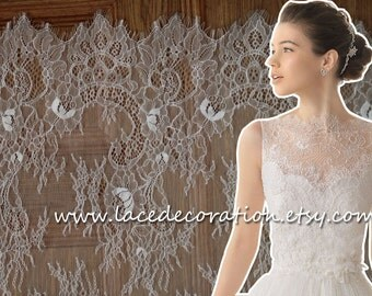 SALES!!!! Eyelash Lace, Chantilly Lace Fabric,  Bilateral Lace Fabric, NEW Good Quality Ivory, Off White and Black In Stock