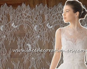 NEW Good Quality Eyelash Lace, Chantilly Lace,  Bilateral Lace Fabric, Off White and Black In Stock,