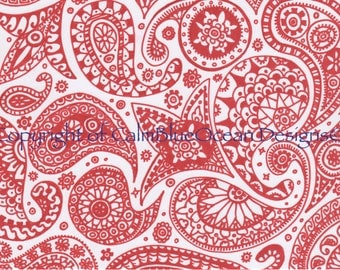 Red and White Paisley Pattern - Unframed - A4 sized