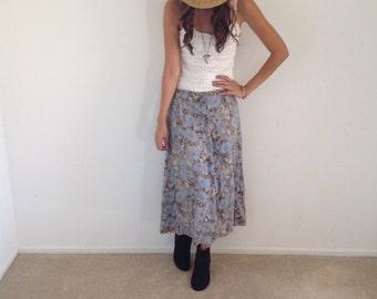 Tea Skirt Floral Midi Skirt Large Blue Flower Skirt