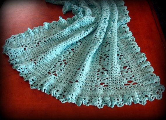 Teal Heirloom Baby Afghan Crochet Baby Afghan by NanasGoneWild