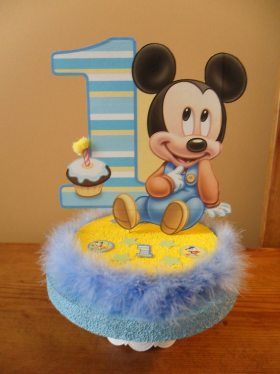 Baby mickey mouse 1st first birthday cake by partydecoteresa for Baby mickey mouse decoration