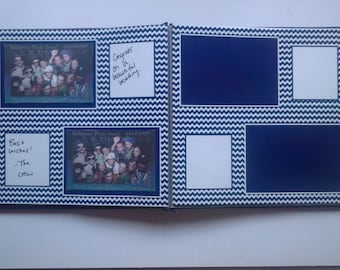 "Photo Booth Guest Book in Navy Chevron (4"" x 6"" photos)"
