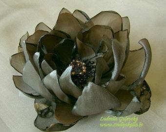 Handmade gray organza flower brooch, waterlily flower clip & pin