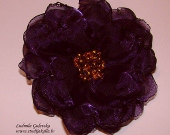Handmade dark purple - violet organza flower brooch, flower clip & pin