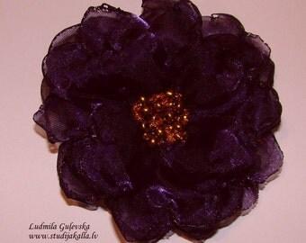 Handmade dark purple - violet organza flower brooch, flower clip & pin