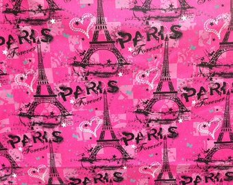 Paris Eiffel Tower Black & Hot Pink Fabric - 100% Cotton Quilting Apparel Crafts Home decor