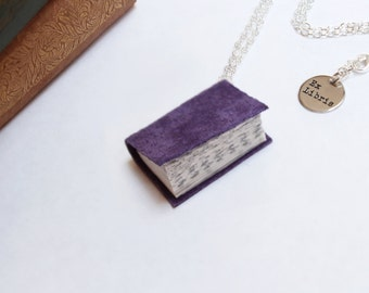 Purple Suede Book Necklace - Up-cycled Leather Bound Miniature Literature - Book Jewellery
