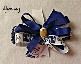 Indianapolis Colts Baby Girl Boutique Bow Crocheted Headband