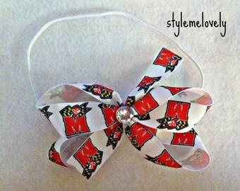 University of Maryland Baby Girl Boutique Bow Elastic Headband