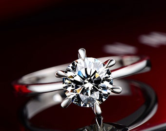 Timeless Moissanite Engagement Ring, 18K diamond ring,  Engagement Ring