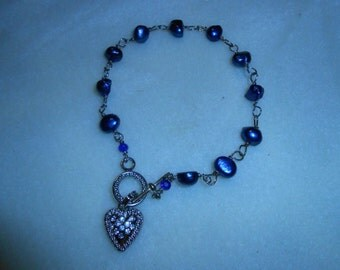 Blue Fresh Water Pearl Bracelet