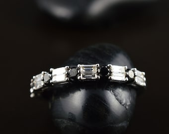 Amanda - Black and White Diamond Band in White Gold, Round Brilliant and Baguette Cut, Double Row, Classic, Right Hand Ring, Free Shipping