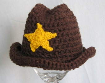 Crochet Cowboy Cowgirl Hat Photography Prop for Newborn Baby Toddler and Child