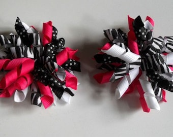Hot Pink and Zebra Print Korker Bow Set